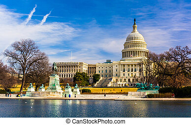dc., reflejar, capitolio, piscina, washington