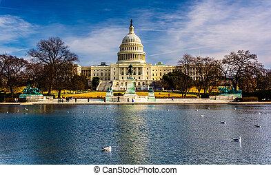 dc., unido, capitolio, estados, reflejar, washington,...