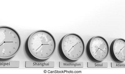 dc, usa, horloge, projection, dans, animation, washington, temps, conceptuel, mondiale, rond, zones., 3d