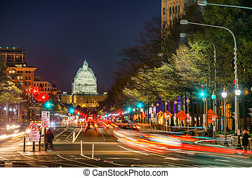 dc, usa, pennsylvanie, nuit, washington, avenue