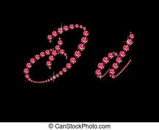 Dd Ruby Script Jeweled Font - Dd in stunning Ruby Script...