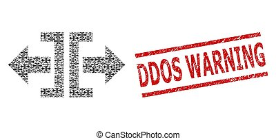 ddos, advertencia, horizontal, composición, dividir, iconos, sello, recursion, rasguñado, dirección