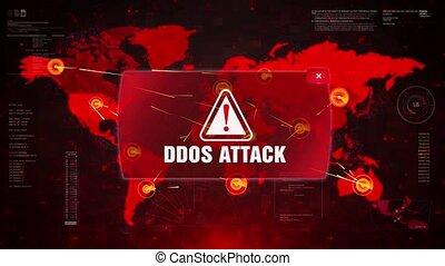 DDOS Attack Alert Warning Attack on Screen World Map Loop...
