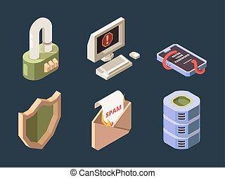 ddos, en línea, protección, virus, digital, isométrico, cyber, spam, pirata informático, phishing, security., bot, red, datos, vector, ataque