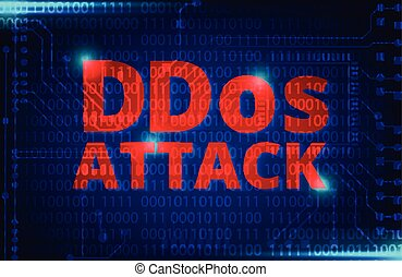 DDOS on a Digital Binary Warning above electronic circuit...