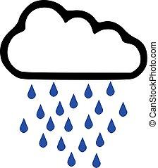 deštivé počasí, -, předpověď, ikona