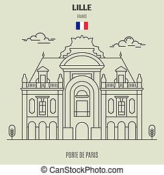 de , παρίσι , lille, εικόνα , διακριτικό σημείο , porte, france.