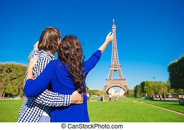 de, パリ, 恋人, エッフェル, 若い, チャンピオン, 背景, 火星, タワー, 幸せ