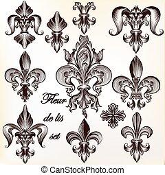 de, 国王のコレクション, fleur, ベクトル, lis, design.eps