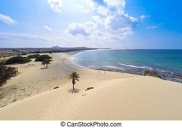 de, aéreo, dunas, chaves, bo, praia, playa de arena, vista