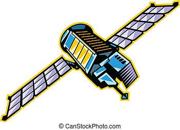 de, aanzicht, van, satelliet