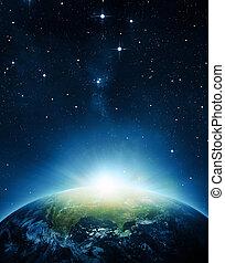 de aarde, met, zonopkomst