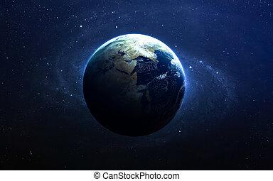 de aarde, van, space., dit, beeld, communie, gemeubileerd, door, nasa.