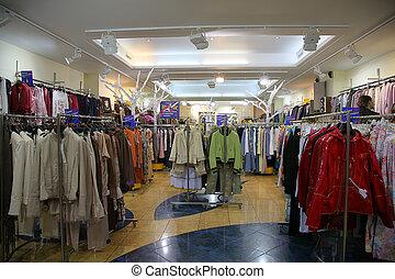 de, afdeling, van, bovenleer, kleren, in, winkel