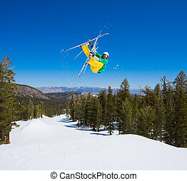 de, aire grande, salto, consigue, esquiador