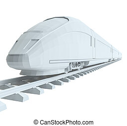 de alta velocidad, blanco, tren