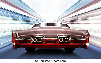 de alta velocidad, coche, camino