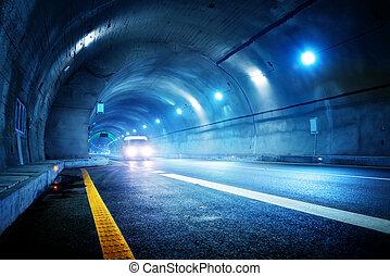 de alta velocidad, coche, túnel