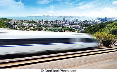 de alta velocidad, por, paso, tren, xiamen