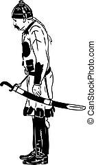 de, antiga, guerreira, em, um, capacete, e, por, um, sabre