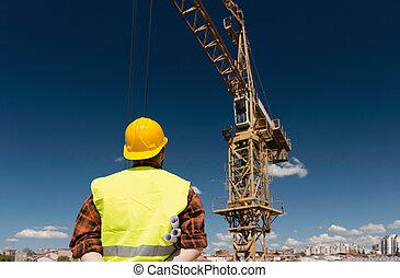de arbeider van de bouw, bouwterrein