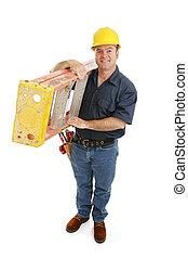 de arbeider van de bouw, en, ladder