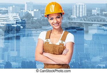 de arbeider van de bouw, girl.