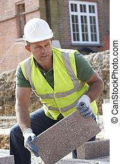 de arbeider van de bouw, het leggen, blockwork