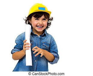 de arbeider van de bouw, klein meisje