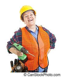 de arbeider van de bouw, liefdes, haar, werk