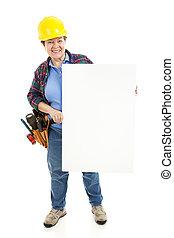 de arbeider van de bouw, meldingsbord