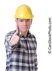 de arbeider van de bouw, met, beduimelt omhoog