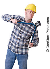de arbeider van de bouw, met, boutsnijder