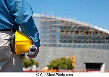 de arbeider van de bouw, of, voorman, op, gebouw stek