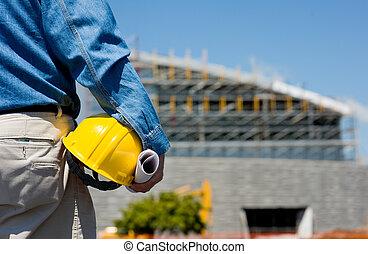 de arbeider van de bouw, op, bouwterrein