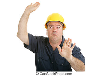 de arbeider van de bouw, opgesloten