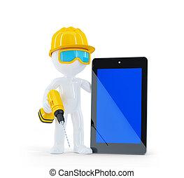 de arbeider van de bouw, tablet, computer