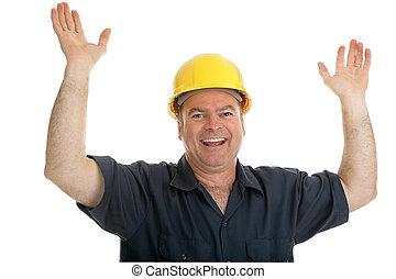de arbeider van de bouw, verrukt