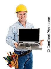 de arbeider van de bouw, vriendelijk, &, draagbare computer