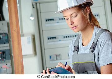 de arbeider van de bouw, vrouwlijk
