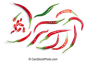 De Arbol chilies, paths, top view