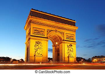 de, arco, paris, triunfo, frança