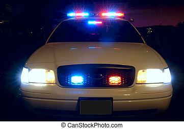 de autolichten van de politie