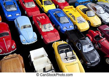 de auto's van het stuk speelgoed