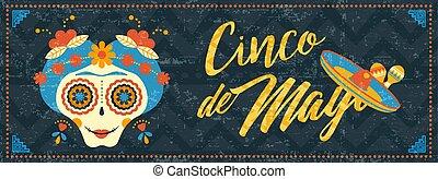 de, azúcar, bandera, mayo, tela, cinco, cráneo, mexicano, ...