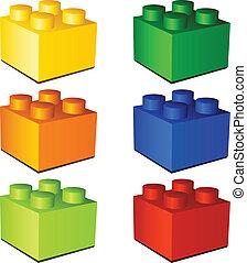de bakstenen van het stuk speelgoed, plastic, vector, kinderen, 3d