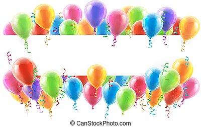 de banner van de partij, ballons