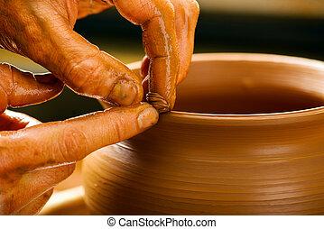 de barro, manos, tarro, crear, alfarero