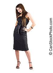de, beauty, jonge vrouw , in, black , dress., vrijstaand