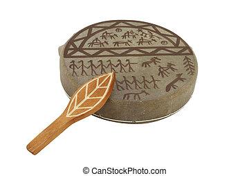 de, beeld, van, shaman, tambourine